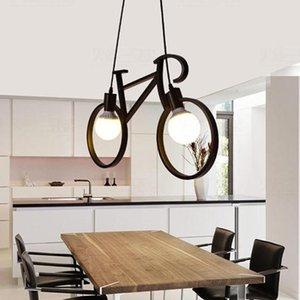 Ferro Bicicletta Forma Lampadari Vintage Loft Bianco Nero Chandelier da letto Soggiorno Lampade