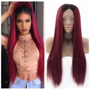 Burgundy Long Straight Hair Lace Front Wig With Dark Roots Heat Resistant Synthetic Lace Front Cosplay Party Wig For Women