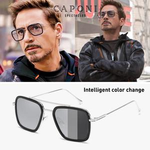 CAPONI Männer Sonnenbrille Photochromic Tony Stark Iron Man Weinlese Steampunk Brillen polarisierten Retro Mode Schatten UV400 BS66218 T200103