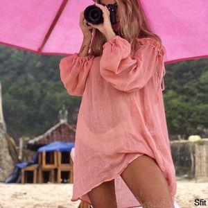 SFIT 2020 Cotton beach dress cover fashion swim cover-ups Long sleeve beachwear off shoulder bikini women cover up tunic new