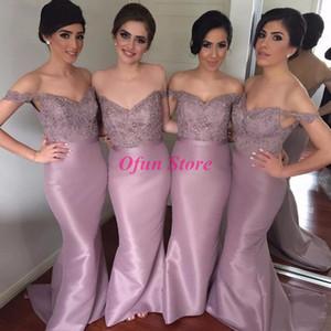매력적인 층 길이 인어 어깨 레이스 스팽글 V 목 긴 신부 들러리 드레스 사용자 정의 만든 명예 드레스의 새틴 하녀