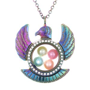 Multicolor Eagle Living Memory Diameter 8mm Beads Pearl Cage Magnetic Glass Floating Locket Pendant Rhinestone Necklace Gift