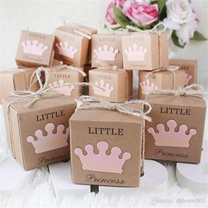 Little Prince Princess Baby Shower Favor Boxes+Twine Bow Rustic Kraft Paper Candy Bag Gift Box for Baby Shower Party Supplies Cute Birthday