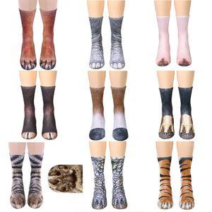 13 estilos animales garra Hoof calcetines de algodón impresas en 3D de la madre y los niños Calcetines tigre perro Modelo animal gato 3D realista impresos calcetín M905