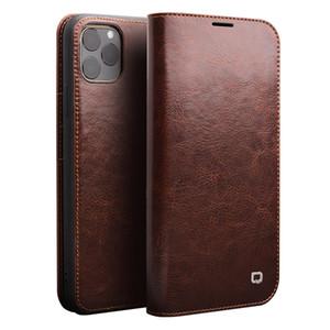 Couverture de téléphone en cuir véritable pour iPhone 11 Pro Max Flip Case avec carte Machines à sous Pocket