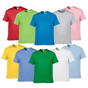 Couleur unie Hommes d'été en coton T-shirts T-shirts manches courtes Pure Color Tops Homme ras du cou Vêtements
