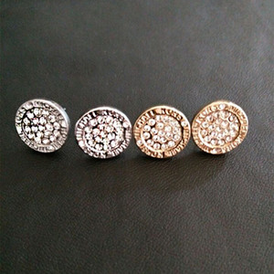 Pendientes de boda para las mujeres Redondo Gem Crystal Studs Lujo Oro Plateado Plateado Pendiente Para Mujer Oar Anillo Anillo Dama Earings Chica Stud Jewelry