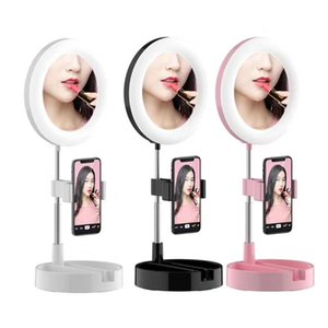 G3 عكس الضوء LED حلقة الضوء الطي سطح المكتب الصور الشخصية للمرآة ضوء مصباح للطي سطح المكتب التصوير الإضاءة ترايبود Moblie الهاتف المشبك قياسي