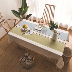 Décoration de la maison Table Tissu Coton Lin Gland Nappe Stripe Imprimer Rectangulaire Nappe Moderne Couverture de Table À Manger Pour La Partie BC VT0533