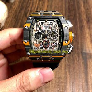 R Top Version RM11-03 McLAREN NTPT углеродного волокна Корпус Skeleton Циферблат Flyback Chrono Автоматическая 11-03 Мужские часы Нейлон Спортивные дизайнерские часы