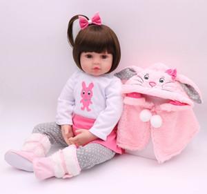 48CM bebe Puppe wieder geboren Babypuppe Handmade Silikon adorable reborn Kleinkind Bonecas Mädchen Kind menina de Silikonpuppe surprice T200209