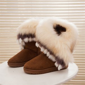 Hot Sale-Warm Autumn Winter Wedges Snow Fox Snow Women Australia Boots Shoes Genuinei Mitation Lady Short Boots Casual Long Snow