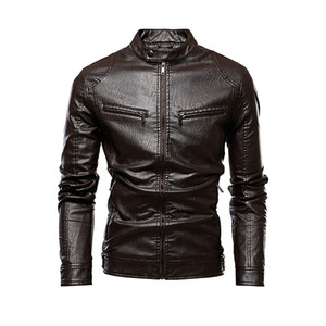 Desinger PU Leather Fleece Coats Long Sleeve Fashion Stand Collar Zipper Casual Apparel Mans Outerwear with Pockets