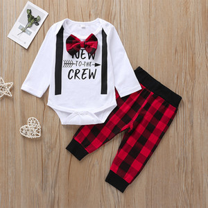 Best selling new baby gentleman suit spring and autumn long-sleeved jumpsuit bow from next year printed lattice trousers two-piece P018