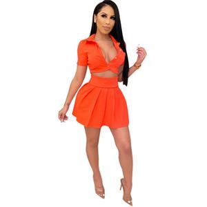 Женская мода сплошной цвет с коротким рукавом рубашки + Mini Повседневный Beach Party Юбка Cute Short Two Piece Set оптом