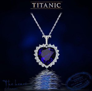 Crystal Iced Out Cadenas El corazón del océano Collar Colgantes de diamantes Titanic Designer Necklace Designer Jewelry Women Necklace