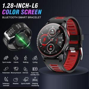 L6 Bluetooth inteligente reloj pulsera inteligente HD completamente táctil de pantalla grande a prueba de agua Bandas rastreador de ejercicios monitor de frecuencia cardiaca de silicona para unisex
