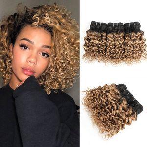 27 1B Ombre Honey Blonde tiefe lockige Haarbündel 10 12 14inch 3 Bundles brasilianischen Wasser-Wellen-Haar Remy Haarverlängerungen Großhandel