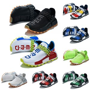 Top NMD Human Race Running Shoes Pharrell Williams HU White Black Yellow Red Grey Mens Womens Sports Sneakers Size 36-45