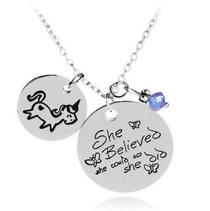 Ela Acreditava Que Ela Pudesse Então Ela Pingente Unicórnio Azul Inspirado inspirado animal Jóias colar de pingente de Cavalo Neckalce