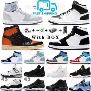 Fast Shipping 2020 Black Cat 4 4s Branco Splatter 1 1s WMNS Zoom Racer Azul Mens tênis de basquete UNC Sapatilhas 11 11s Esportes