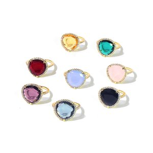 designer de luxo jóias mulheres anéis anel de bronze anel de diamante feminino requintado anel de casamento de cristal de 8 cores