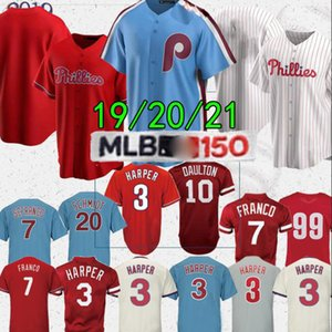 Philadelphia Phillies maglie Bryce Harper 3 7 Franco 10 camicia Daulton 99 Williams superiore di alta qualità Baseball Jersey su ordinazione