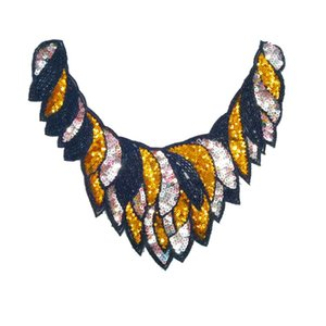 Clothing accessories fashion beads embroidered sequins round collar cloth multi-color clothing patch hot melt collar flower soft