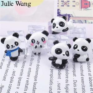 Julie Wang 10PCS Cartone animato in resina Panda Charms Stili misti Ciondoli animali Creazione gioielli Accessori da tavolo Accessori per decorazioni