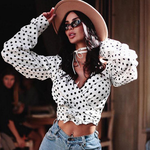 HIRIGIN femmes manches longues récent Polka Dot Shirts Sexy Lady V-Neck Crop Top court Chemisier Chemises Clubwear