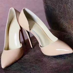Talon aiguille Femmes chaussures Marque Rouge Bas Talons Hauts En Cuir Verni Bout Pointu Robe Chaussures De Luxe Bouche Peu Profonde Semelle Rouge Chaussures De Mariage
