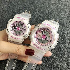 Moda Bebek CAS Marka Saatler Erkek Kadın Aşıklar Çiftler ŞOK LED gösterge Çok Su geçirmez Lastik G kol saati GA 12