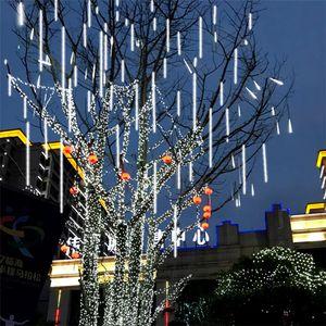 30cm 50cm 80cm impermeable 8/10 tubo Lluvia de meteoros Lluvia de Navidad LED cadena luces al aire libre de la guirnalda para la boda decoración de jardín CRESTECH