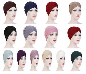 Kadın Zarif Stretchy Şapka Turban Forehead Çapraz Hindistan Şapka Başkanı Wrap Kemo Katı Renk Bandana Müslüman Eşarp Kız Cap DA393
