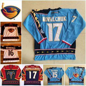 Hocky Men's Vintage Atlanta Thrashers Jerseys 17 Ilya Kovalchuk 15 Dany Heatley 16 Marian Hossa Jersey Blue Red White Hockey CCM Mixed Orde