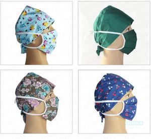 Floral Floral Cartoon Infermiera Cap Doctor Cappello e Face Mask Due pezzi Set Maschere protettive lavabili in cotone Maschere infermieristiche Copricapo Anti antipolvere E41403