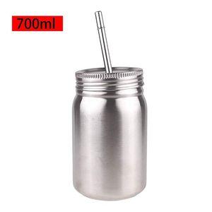 700 ML pot Mason en acier inoxydable Gobelet avec couvercle et paille en acier inoxydable à paroi simple Incassable