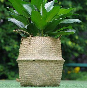 Vase INS tejida Organizador cesta maceta de jardín de flores de mano del vientre Cesta para almacenamiento Tiesto cubierta decoración del hogar de la cesta KKA7954-1