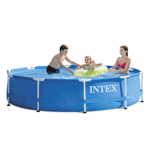 blau INTEX 305 * 76 cm Rund Feld Above Ground Swimmingpool Teich Familie Pool Filterpumpe Metallrahmenstruktur