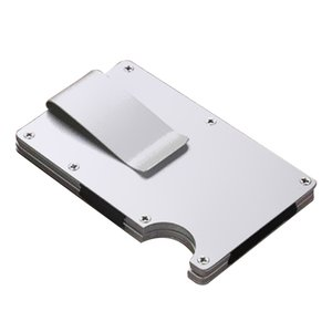 Men Ultra Light Metal Credit Card ID Holder Slim Money Clip Wallet With RFID Blocking Thin Minimalist