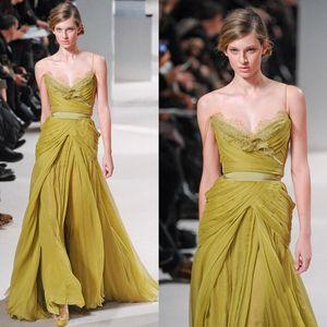 2020 Elie Saab Sexy Spaghetti Vestidos Spring Fashion Ruffle Prom Vestidos Lace Pageant Partido Runway Carpet Vestidos Red
