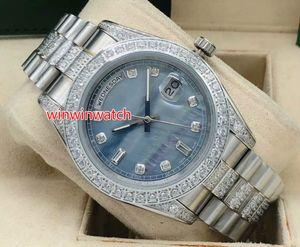 Automatische Männer Uhrqualität 41mm Silber Fall Steine Lünette und Diamanten in der Mitte des Armbandes 4 Farbe wählen volle Werke Armbanduhr