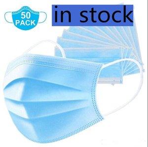 Non-Woven Einweg-Gesichtsmaske 3 Ebenen Staub-Beweis-Schutz Sicherheit Arbeits Masken Männer Frauen Test-Reinigungsgesichtsmasken MQ500