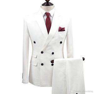 Slim Fit White Men Suits Mariage Marié Porter Tuxedos 2 Pièces (Veste + Pantalon) Costumes Marié Meilleur Homme De Bal Business Wear Blazer
