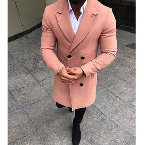 Misturas quentes New Moda Masculina Inverno Brasão lapela Outwear Overcoat Longo Jacket Peacoat Mens casacos longos