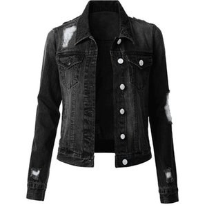 Solid Color Womens Designer Denim Jackets Fashion Slim Vintage Ripped Womens Denim Jackets Casual Females Clothing