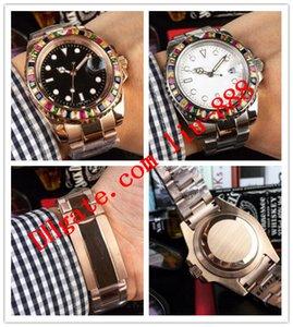 이 스타일 남성 패션 Wathces의 40mm 레인보우 다이아몬드 베젤 116695 로즈 골드 스틸 팔찌 자동 명품 시계 무료 배송