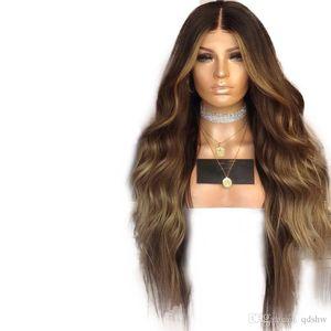 Дешевые парик Синтетический жаропрочных Ombre Коричневый Белый Полное Плотность Glueless Волнистые Высокая температура жаропрочных Без парики шнурка для женщин