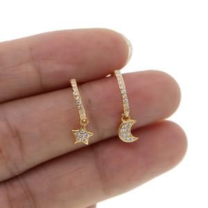 Gros étoiles de charme en argent sterling 925 boucles d'oreille minuscule lune délicate friandise minimale de haute qualité étoiles chute fille mignonne bijoux en argent cadeau