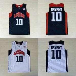 Cosida 10 Bryant Baloncesto Jersey Camisa para hombre EE.UU. Dream Team Jersey cosido azul manga corta blanca S-XXL